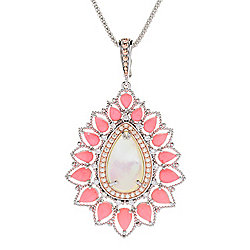 "Dallas Prince Mother-of-Pearl, Pink Coral & White Zircon Teardrop Enhancer w/ Chain & 3"" Extender"