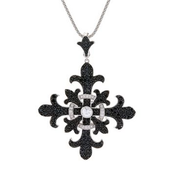 Dallas by Night 181-592 Dallas Prince 5.20ctw Black Spinel & White Zircon Cross Enhancer Pendant w 18 Chain & 3 Extender - 181-592