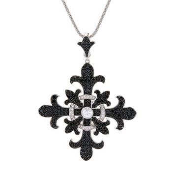 Dallas by Night 181-592 Dallas Prince 5.20ctw Black Spinel & White Zircon Cross Enhancer Pendant w 18 Chain & 3 Extender - 181-592