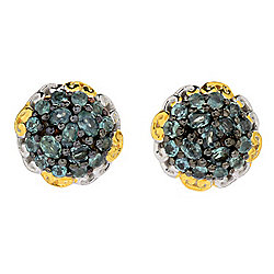 Gems en Vogue Oval & Round Alexandrite Cluster Stud Earrings