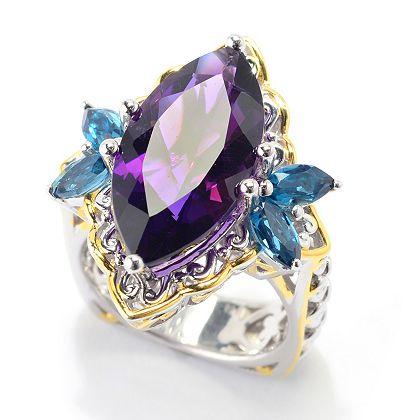 181-826 Gems en Vogue 7.05ctw Namibian Amethyst & London Blue Topaz Marquise Ring