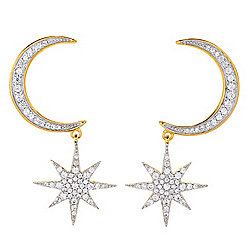 "Gem Treasures® 1.75"" 1.05ctw White Zircon Moon & Celestial Star Drop Earrings"