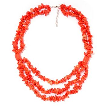 182-224 Gems en Vogue Palladium Silver 23.5 Orange Coral Multi Strand Beaded Necklace - 182-224