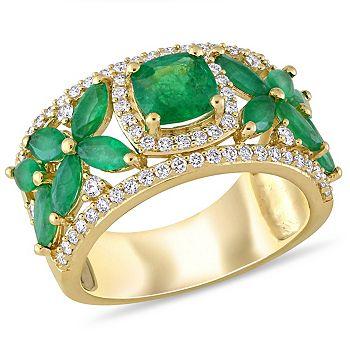 Web Exclusive Trunk Sale Ft. Julianna B. - 182-481  Julianna B 14K Yellow Gold 3.02ctw Emerald & Diamond Flower Ring - 182-481