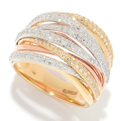 Web Exclusive Finds Items You Won't See On TV - 182-541 EFFY Trio 14K Tri-Color Gold 0.74ctw Diamond Highway Ring