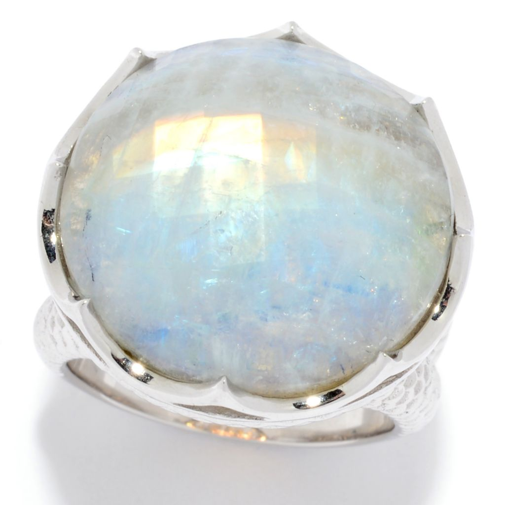 Rhodium Plated 925 Solid Silver Rainbow Moonstone Ring Size 6.5 Indian Jewelry Collection Anniversary Gift Brand New Fashion Jewel Bijoux