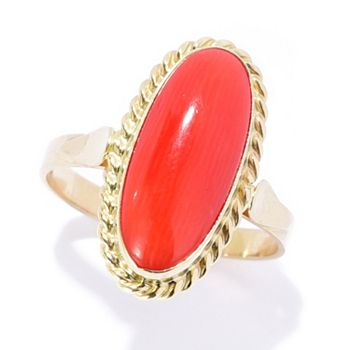14K Gold | Ft. Italian Craftsmanship | 183-449 | 14K Italian Gold 16 x 7mm Oval Natural Coral North-South Ring - 183-449