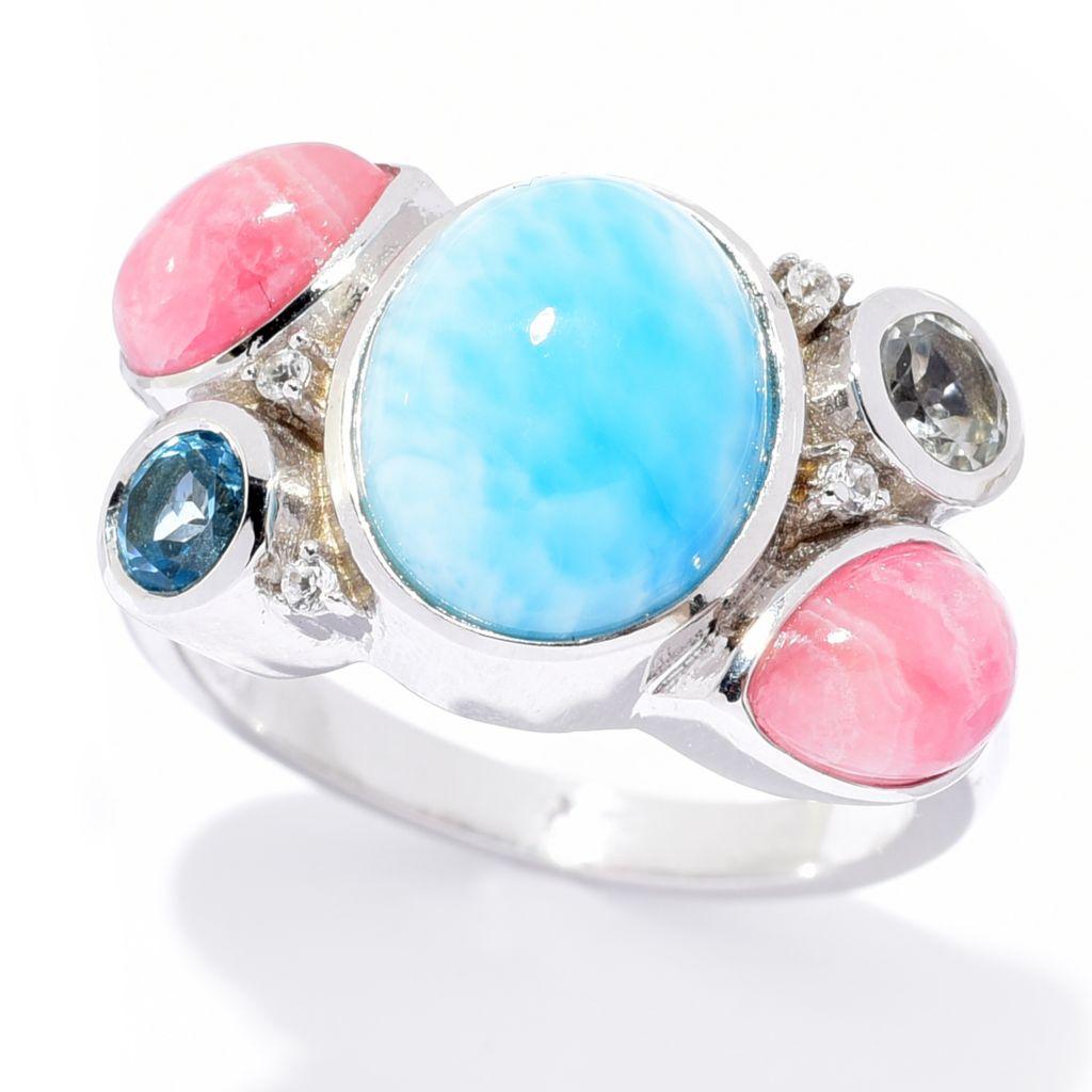size 7. Blue Rhodochrosite /& Blue Topaz Sterling Silver Ring