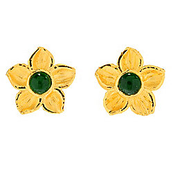 Lambert Cheng 24K Gold Imperial Jade Flower Stud Earrings