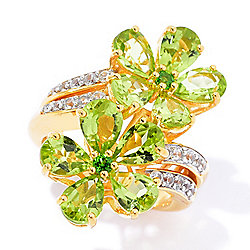 Gem Insider® 6.40ctw Peridot, Chrome Diopside & White Zircon Flower Ring