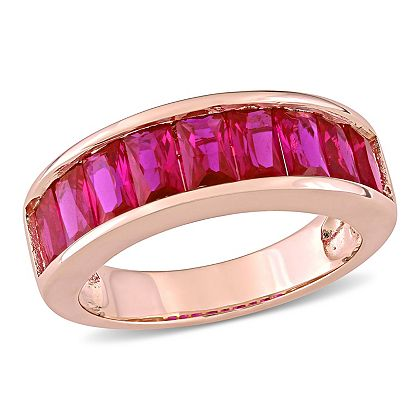 Web Exclusive Finds Items You Won't See On TV - 184-497 Created Jules 2.70ctw Baguette Cut Lab-Created Ruby Band Ring