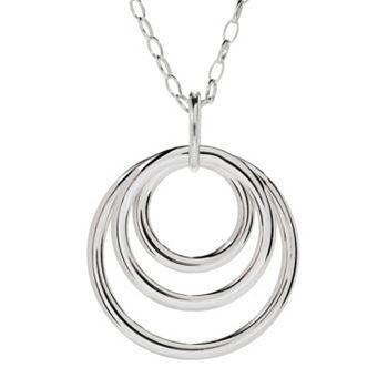 Sorrento Italian Silver - 184-784 Sorrento Italian Silver Tubing Multi Open Circle Pendant w 36 Rolo Chain - 184-784