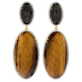 184-820 Hilary Joy Couture 2.5 40 x 20mm Oval Tiger's Eye & Gemstone Drop Earrings - 184-820