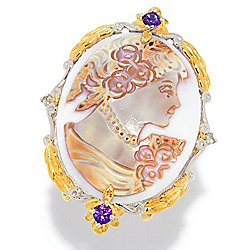 Gems en Vogue Final Cut 30 x 22mm Tiger Shell & Gemstone Cameo Ring