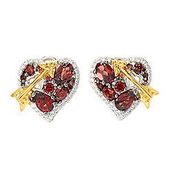 Gem Treasures® 3.24ctw Garnet & White Zircon Heart & Arrow Stud Earrings
