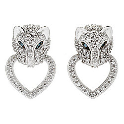 Diamond Treasures® Sterling Silver 0.50ctw Blue & White Diamond Panther Door-Knocker Earrings