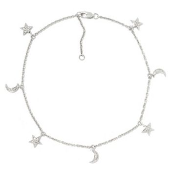 Dazzling Diamonds Up To 60% Off - 185-305 Diamond Treasures® Sterling Silver 9 0.07ctw Diamond Charm Station Anklet w 1 Extender - 185-305