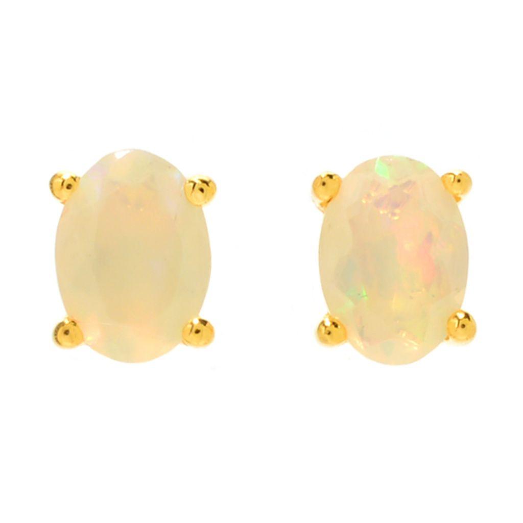 Ethiopian Opal Oval Sterling Silver Earrings