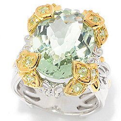 Gems en Vogue Final Cut 9.50ctw Checkerboard Cut Prasiolite & Peridot Ring