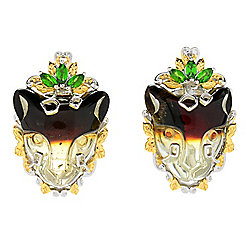 Gems en Vogue 18 x 16mm Carved Bi-Color Amber & Chrome Diopside Panther Earrings