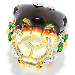 Gems en Vogue 29 x 23mm Carved Bi-Color Amber & Chrome Diopside Panther Ring