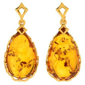 Baltic Amber Jewels Save Up To 40% On Gemstones - 185-627 Gemporia 1.25 23 x 13mm Pear Shaped Baltic Cognac Amber Drop Earrings - 185-627