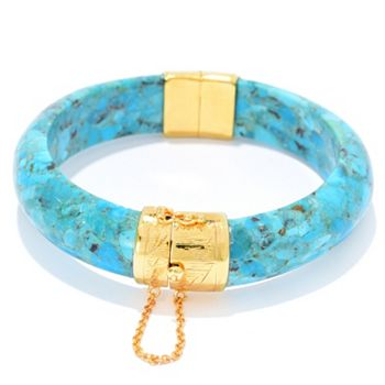 Kwan Collections 185-697 Kwan Collections 14K Gold Embraced™ 6.75 or 7.75 Choice of Gemstone Bangle Bracelet - 185-697