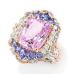 Gems en Vogue 12.09ctw Cushion Kunzite & Gemstone Halo Limited Edition Ring