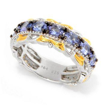 Tanzanite Rare Gems in Various Shades - 186-074 Gems en Vogue 1.40ctw Oval Tanzanite 7-Stone Band Ring - 186-074