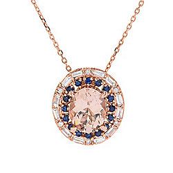 Sonia Bitton Galerie de Bijoux® 14K Rose Gold 3.12ctw Morganite, Sapphire & Diamond Pendant