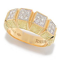 TORRINI 1369 14K Gold 0.30ctw Diamond Station Florentine Feather Detailed Band Ring