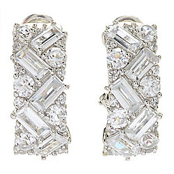 Gem Treasures® 6.94ctw Multi Cut White Zircon Hoop Earrings w/ Omega Backs