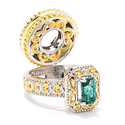 Gems en Vogue Belmont Emerald Ring Drop Scrollwork Charm