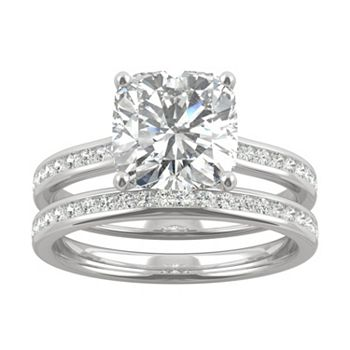 Rings Sale - 186-699 Moissanite by Charles & Colvard 14K White Gold 2.86 DEW Cushion Cut Cathedral Ring Set - 186-699