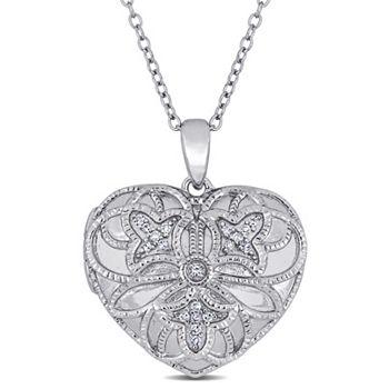 Pendants - 186-842 Jules by Julianna B. Sterling Silver Diamond Accented Pendant w 18 Chain - 186-842