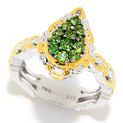 Gems en Vogue Chrome Diopside Pear Shaped Cluster Ring