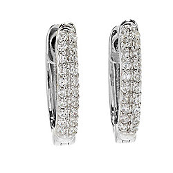 Diamond Treasures® Sterling Silver Choice of Size Diamond Pave Oval Hoop Earrings