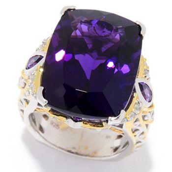 Customer Choice Your Favorite Jewelry Picks - 186-931 Gems en Vogue 23.70ctw 20 x 15mm Namibian Amethyst & White Zircon Ring - 186-931