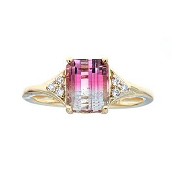 Jewelry Last Chance On Precious Gemstones - 187-073 Fierra™ 14K Gold Choice of Carat Bi-Color Tourmaline & Diamond Ring - 187-073