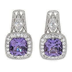 Victoria Wieck for Brilliante® 7.5mm Simulated Alexandrite & Simulated Diamond Halo Earrings