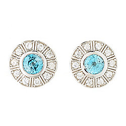 Dallas Prince Sterling Silver 3.50ctw Blue & White Zircon Stud Earrings