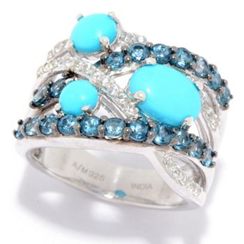 Sleeping Beauty Turquoise Vibrant Designs -187-399 Gem Treasures® Sleeping Beauty Turquoise, Topaz & White Zircon Highway Band Ring - 187-399