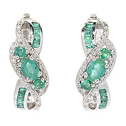 Gem Treasures® 2.04ctw Brazilian Emerald & White Zircon Hoop Earrings