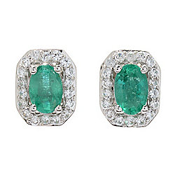 Gem Treasures® 6 x 4mm Brazilian Emerald & White Zircon Stud Earrings