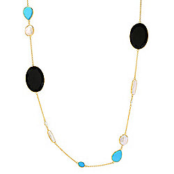 "Victoria Wieck 36"" Onyx, Howlite, Cultured Pearl & White Topaz Necklace"