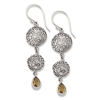 Web Exclusive Finds Deals You Won't See on TV  187-829 Artisan Silver by Samuel B. 2.2 Sterling Silver Scrollwork Gemstone Drop Earrings