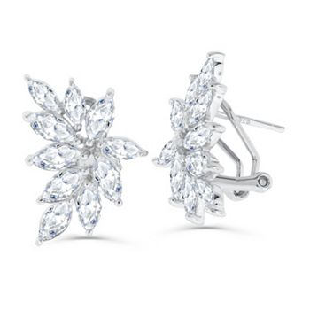 Brillante Affordable Luxury Starting At $22.99- 187-986 Brilliante® Sterling Silver 4.26 DEW Simulated Diamond Stud Earrings w Omega Backs - 187-986