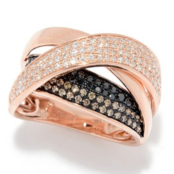 EFFY Tune In At 1PM & 2PM ET - 188-070 EFFY 14K Rose Gold 0.78ctw White, Black & Espresso Diamond Crossover Ring - 188-070