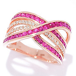 "EFFY ""Amore"" 14K Rose Gold 1.58ctw Diamond & Ruby Highway Band Ring"