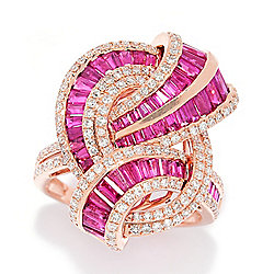 "EFFY ""Amore"" 14K Rose Gold 3.83ctw Diamond & Ruby Swirl Ring"